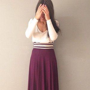 Maxi Purple Plum Skirt with White Lace Waist